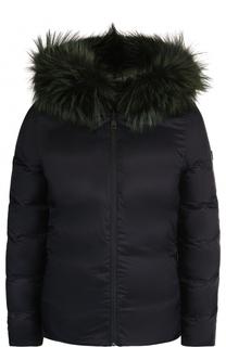 Двусторонняя стеганая куртка с меховой отделкой капюшона Fendi