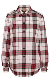 Хлопковая блуза свободного кроя в клетку Burberry