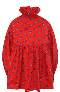 Хлопковая блуза с принтом и воротником-стойкой Kenzo
