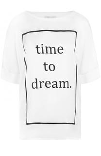 Хлопковая футболка свободного кроя с принтом Escada Sport