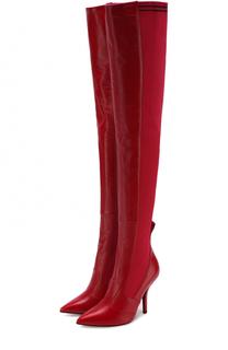 Кожаные ботфорты с вязаной отделкой на шпильке Fendi