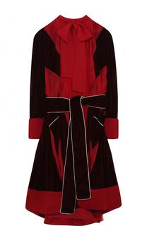 Приталенное платье-миди с воротником аскот Sacai