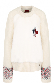 Шерстяной пуловер с отделкой из меха норки Moncler