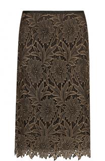 Однотонная кружевная юбка-миди Escada
