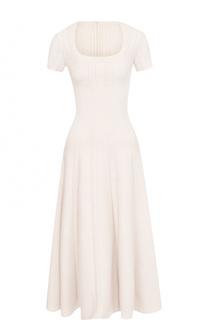 Приталенное платье-миди с коротким рукавом Alaia