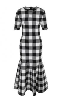 Приталенное платье-миди в клетку Oscar de la Renta
