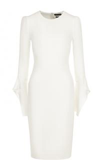 Приталенное шелковое платье-миди с длинным рукавом Tom Ford