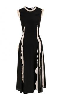 Шелковое платье-миди с контрастными оборками REDVALENTINO