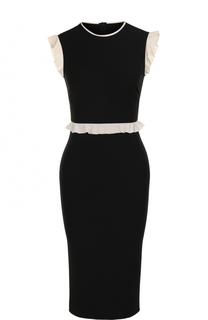 Платье-футляр с контрастными оборками REDVALENTINO