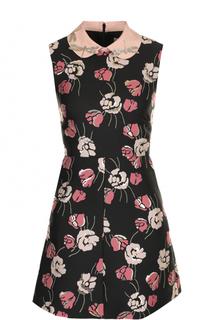 Приталенное мини-платье с отложным воротником REDVALENTINO