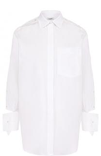Однотонная хлопковая блуза свободного кроя Valentino