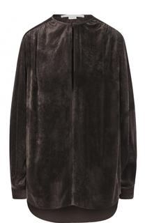 Бархатная блуза с круглым вырезом и длинным рукавом Stella McCartney