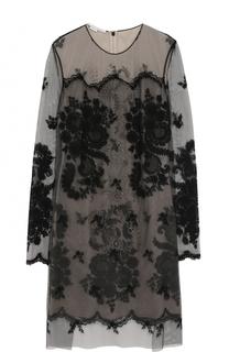 Полупрозрачное мини-платье с длинным рукавом и вышивкой Stella McCartney