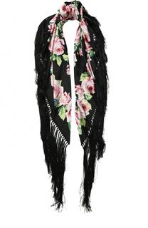 Платок из смеси шелка и вискозы с бахромой Dolce & Gabbana