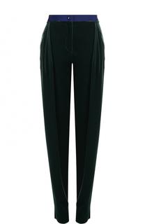 Бархатные брюки с завышенной талией и защипами Giorgio Armani