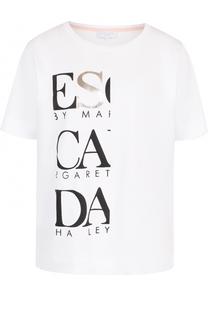 Хлопковый топ свободного кроя с логотипом бренда Escada Sport
