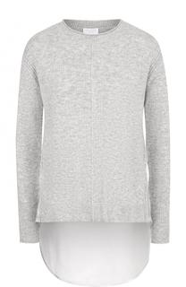 Пуловер из смеси шерсти и кашемира с удлиненной спинкой Escada Sport