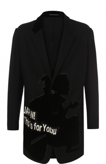Удлиненный пиджак из смеси шерсти и хлопка с аппликацией Yohji Yamamoto