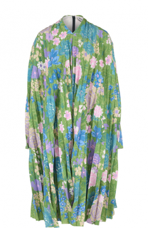 Плиссированное платье-миди с принтом Balenciaga