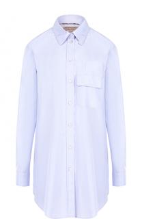 Однотонная хлопковая блуза свободного кроя Burberry