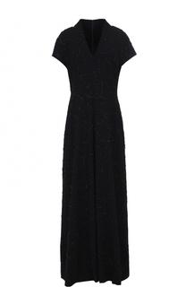 Приталенное платье-макси с вышивкой бисером Escada