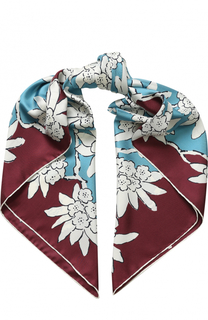 Шелковый платок с цветочным принтом Valentino