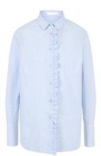 Хлопковая блуза свободного кроя с оборками BOSS