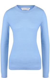 Приталенный шерстяной пуловер с круглым вырезом BOSS