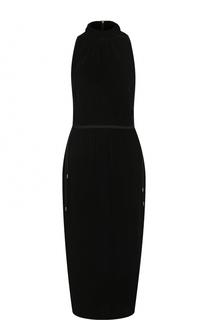 Приталенное бархатное платье-миди без рукавов BOSS