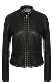 Приталенная кожаная куртка с воротником-стойкой Valentino