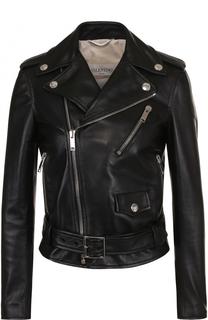 Приталенная кожаная куртка с косой молнией Valentino