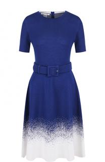 Приталенное платье-миди с поясом и круглым вырезом Oscar de la Renta