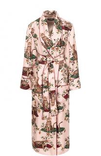 Шелковое пальто с принтом и поясом Dolce & Gabbana