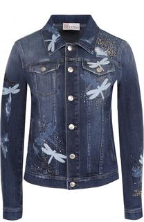 Приталенная джинсовая куртка с потертостями REDVALENTINO