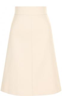 Однотонная юбка А-силуэта с широким поясом REDVALENTINO