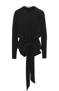 Шелковая блуза с круглым вырезом и бантом Stella McCartney