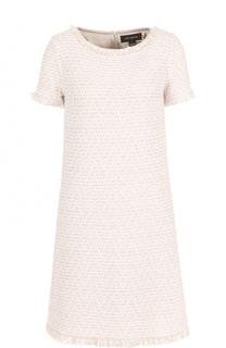 Буклированное расклешенное платье-миди St. John