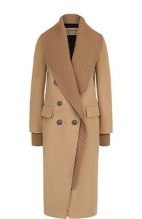 Двубортное кашемировое пальто с карманами Burberry