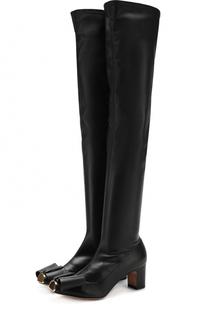 Кожаные ботфорты Bowow с бантом и металлической отделкой Valentino