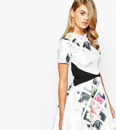 Короткое приталенное асимметричное платье с принтом True Violet - Мульти
