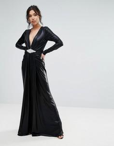 Платье макси с глубоким вырезом Forever Unique - Черный