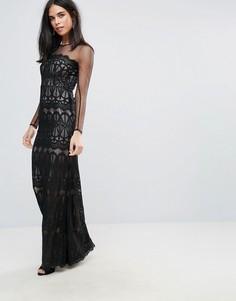 Платье макси с длинными рукавами и кружевом Forever Unique - Черный