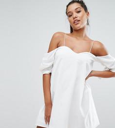 Платье мини с открытыми плечами NaaNaa - Белый
