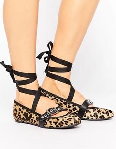 Кожаные балетки с ремешками Park Lane Leopard - Коричневый