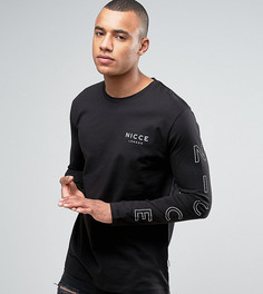Черный лонгслив со светоотражающим принтом на рукавах Nicce London - Черный