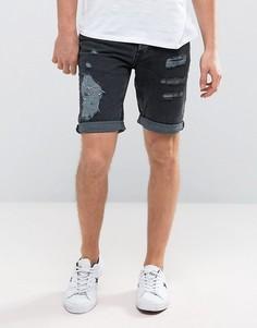 Черные джинсовые шорты слим с рваной отделкой New Look - Черный