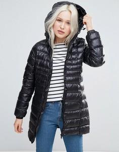 Длинное утепленное пальто с капюшоном Brave Soul - Черный