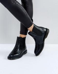 Черные ботинки челси с отделкой под кожу крокодила Dr Martens Kensington - Черный