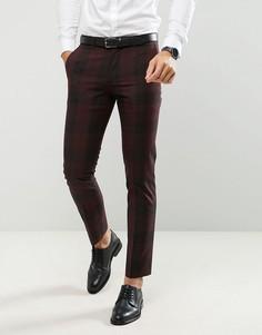 Облегающие брюки в клетку Farah - Красный