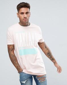 Длинная футболка с принтом ASOS - Розовый